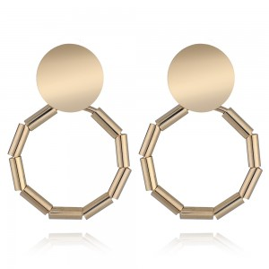 WENZHE Exaggerated copper metal geometric circle earrings modern ear jewelry female