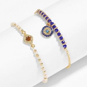 WENZHE Hot Sale Women's Fashion Jewelry Evil Eye Lucky Bracelets Round Turkish Blue Eye Gold Bracelet