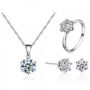 Simple six-jaw zircon set Three-piece set of earrings necklace ring