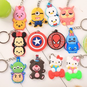 Cartoon cute creative key ring silicone car keychain
