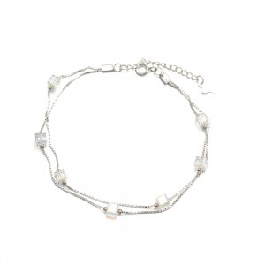 Crystal Bead Silver Bracelets Charm Bracelet For Women 925 Sterling Silver Tennis Bracelet