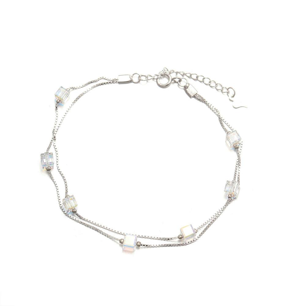 Crystal Bead Silver Bracelets Charm Bracelet For Women 925 Sterling Silver Tennis Bracelet Featured Image