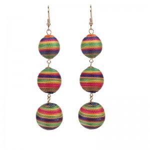 Latest design handmade colorful thread ball earrings long earrings
