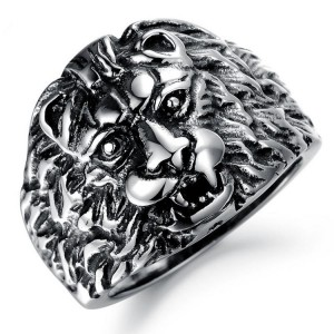 New Wholesale Stainless Steel Silver plated jewelry Lion Head Mens Rings