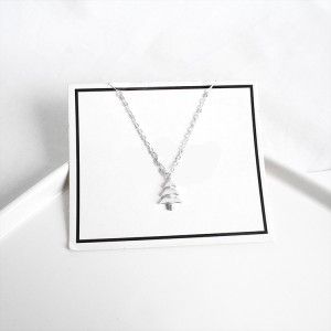 925 Sterling Silver Christmas Trees Pendant Clavicle Chain Necklace
