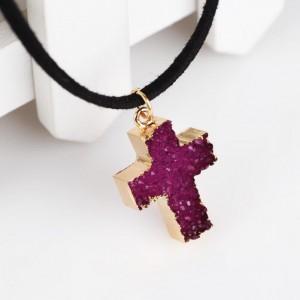 Cross shape pendant crystal quartz necklace jewelry manufacturer china