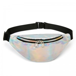 WENZHE Fashion Sport Waist Bag Waterproof Glitter Holographic Fanny Pack