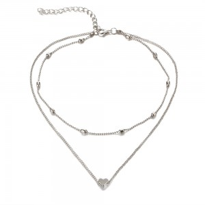 Fashion Gold Plated Love Heart Pendant Imitation Costume Necklaces Jewelry For Women