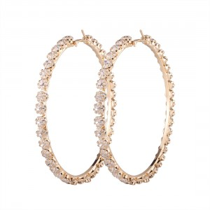 New Trendy Gold Plated Circle Large Rhinestone Hoop Earrings For Women