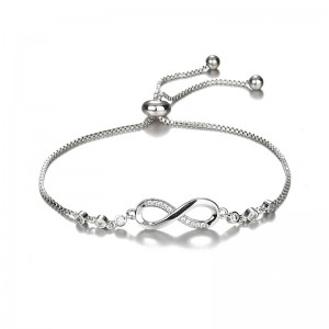 New Products Wholesale Women Jewelry Adjustable Silver Plated Crystal Rhinestone Infinity Bracelet
