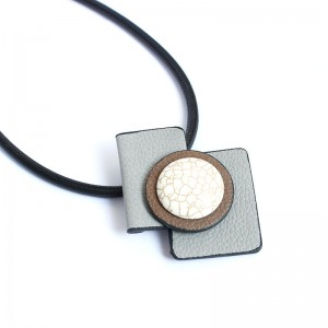 WENZHE simple leather white turquoise geometric pendant necklace