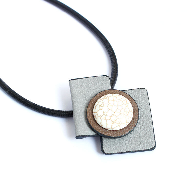 WENZHE simple leather white turquoise geometric pendant necklace Featured Image
