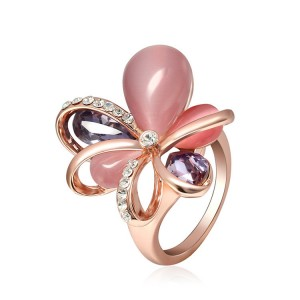 New Arrival Fashion Ladies Jewelry Crystal Rhinestone Opal Flower Cluster Finger Ring