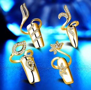 Crystal Zirconia Party Accessory White Gold Finger Nail Ring Set Wedding Decoration