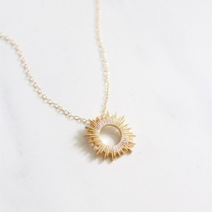 Gold Sun Necklace Sunburst Necklace Dainty Necklace