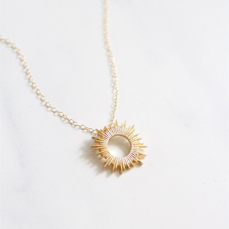 Gold Sun Necklace Sunburst Necklace Dainty Necklace Featured Image