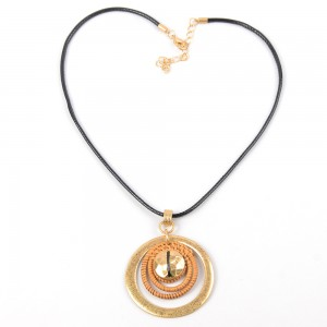 WENZHE Newest Black Cord Rattan Circle Pendant Necklace For Women