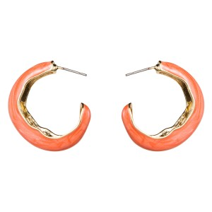 WENZHE Stylish Women's Zinc Alloy Gold Plated Half Circle Custom Enamel Earrings