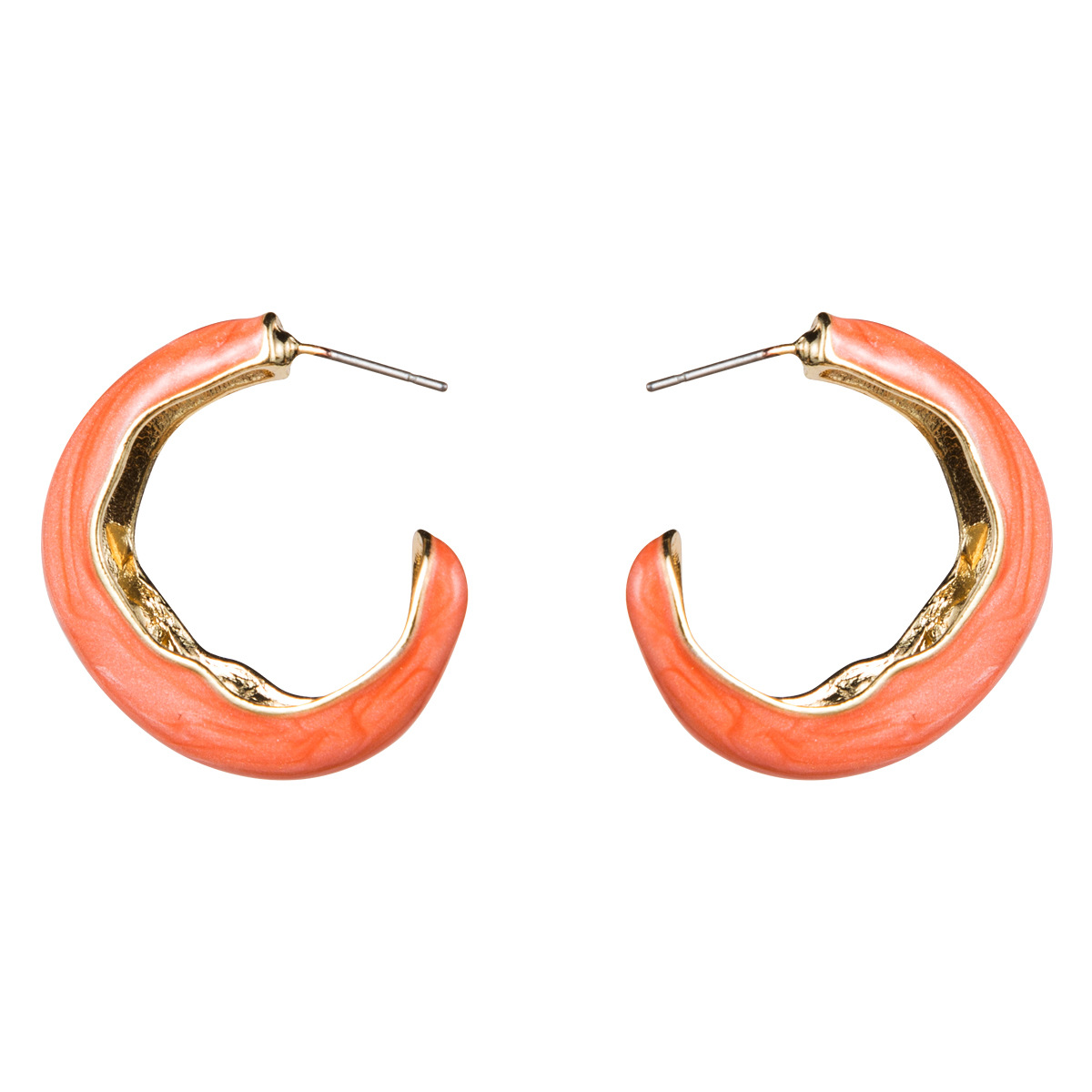 WENZHE Stylish Women's Zinc Alloy Gold Plated Half Circle Custom Enamel Earrings Featured Image