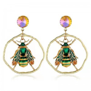 WENZHE Wholesale Elegant Party Gifts Unique Animal Bee Round Earrings Fashion Women Jewelry