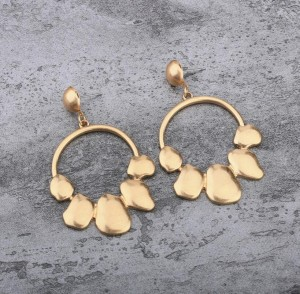 Fashion yellow gold tone circle earring best gift for girlfriend