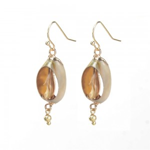 WENZHE New Fashion Natural Shell Gold Alloy Earrings For Women