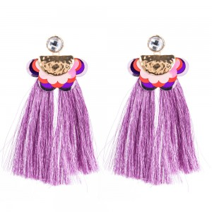 Ladies Earrings Wholesale Fashion Jewelry Metal Flower Sequins Tassel Boho Long Earrings