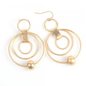 WENZHE Gold Circles Dangle Earring