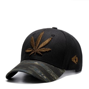 WENZHE Custom Sport Curved Brim Military Style Baseball Cap With Maple Leaf Embroidery Logo