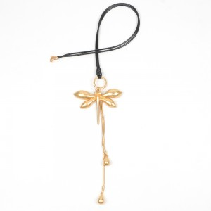 WENZHE Fashion Women Gold Plated Dragonfly Tassel Pendant Alloy Necklace