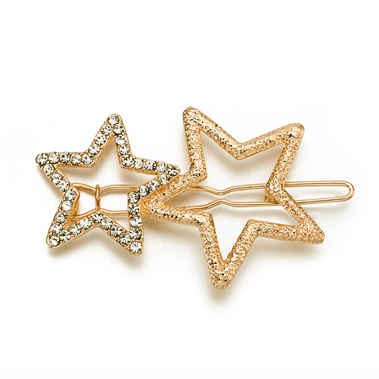WENZHE newest bling bling alloy hair clip pentacle design geometric hairpin Featured Image