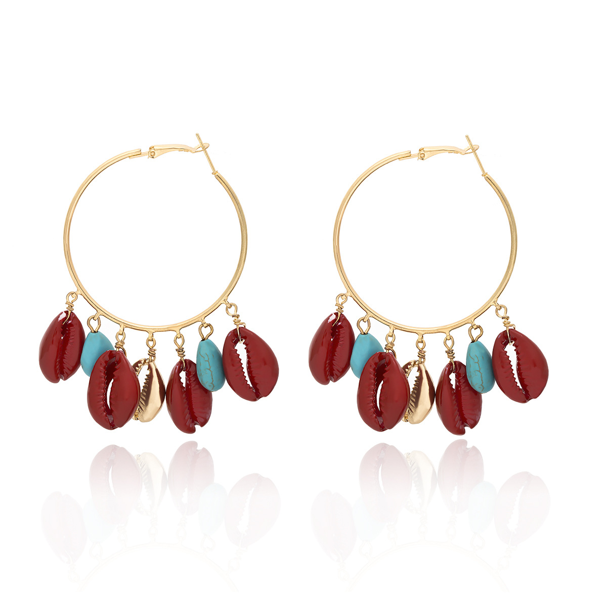 WENZHE Big Hoop Turquoise Red Spray Paint Seashell Exaggerated Boho Earrings Featured Image