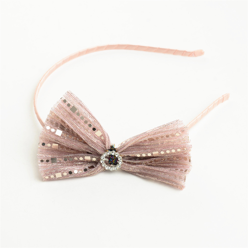 WENZHE Fashion Hair Accessories Cute Girl Baby Glitter Fabric Bow Hair Headbands Featured Image
