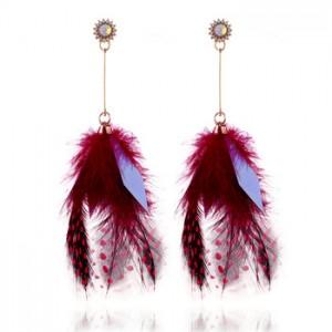Wholesale Fashion Earrings Jewelry Long Tassel Real Feather Earrings For Women