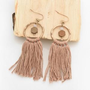 Latest fashion gold metal round ring earrings long cotton thread tassel hanging drop earrings for women girls