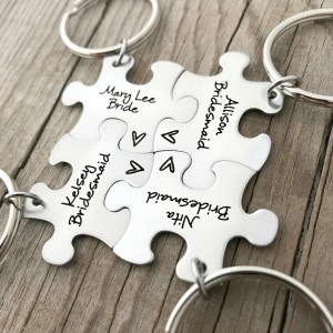 Bridesmaid Gift – Puzzle Piece – Engraved Key Chain – Wedding – Bridal Party – Wedding Puzzle – Bridesmaid Keychain – Wedding Favor