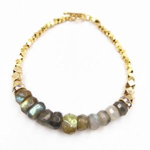 Latest Design Women Crystal Natural Stone Beads Gold Metal Beaded Bracelet