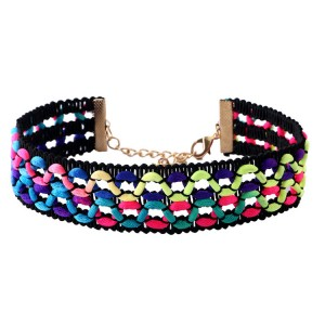 WENZHE Hot sale fashion retro colorful rope hand woven choker necklace