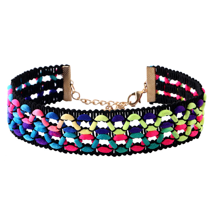 WENZHE Hot sale fashion retro colorful rope hand woven choker necklace Featured Image