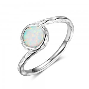 WENZHE Fashion 925 Sterling Silver Opal Finger Ring for Girls