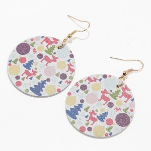 New Popular Christmas Statement Earrings Single Layer Leather Round Earrings