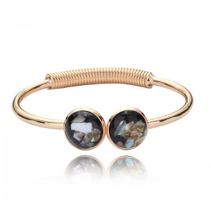 Hot Sale good quality metal gold plated round abalone shell bangle cuff bracelets
