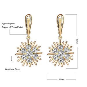 Wholesale Earrings Jewelry Fashion Costume Cubic Zirconia Dubai 18K Gold Ear Buckle Earrings