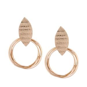 Wholesale Fashion Alloy Jewelry Metal Gold Geometric Big Circle Drop Earrings