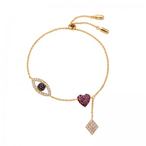 Gold Plated Eye Plated Eye Copper Charm Chains Bracelet