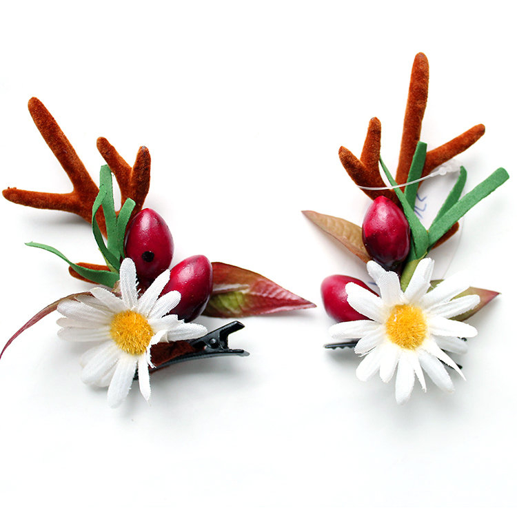 Fashion Design Handmade Christmas Flower And Berry Hair Clip With Antler Featured Image