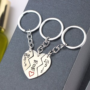 Fashion Custom Stainless Steel Heart Pendant Metal Keychain Set Gifts For Mom and Daughters