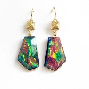 WENZHE Colorful Irregular Geometric Abalone Shell Earrings