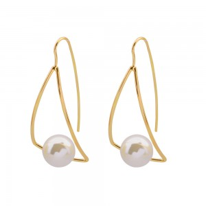 New trend personality curved hollow geometric triangular pearl earrings
