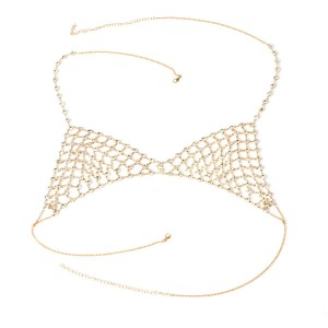 Europe and America exaggerated multi-layer rhinestone body chain necklace new ladies sexy beach bikini chest chain